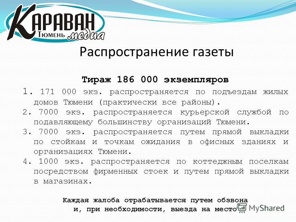 Распространение газеты Тираж 186 000 экземпляров 1. 171 000 экз. распространяется по подъездам жилых домов Тюмени (практически все районы). 2. 7000 экз. распространяется курьерской службой по подавляющему большинству организаций Тюмени. 3. 7000 экз.