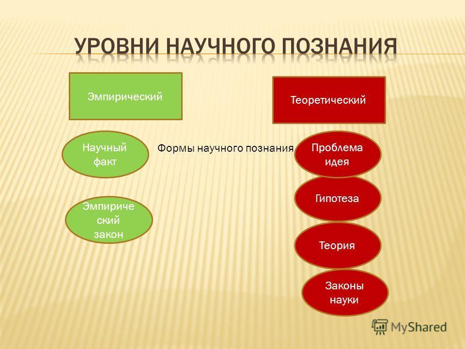Эмпирический Теоретический Научный факт Эмпириче ский закон Законы науки Теория Гипотеза Проблема идея Формы научного познания