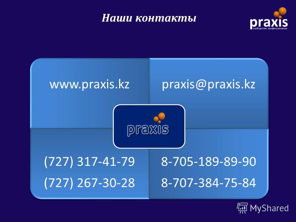 Наши контакты www.praxis.kzpraxis@praxis.kz (727) 317-41-79 (727) 267-30-28 8-705-189-89-90 8-707-384-75-84