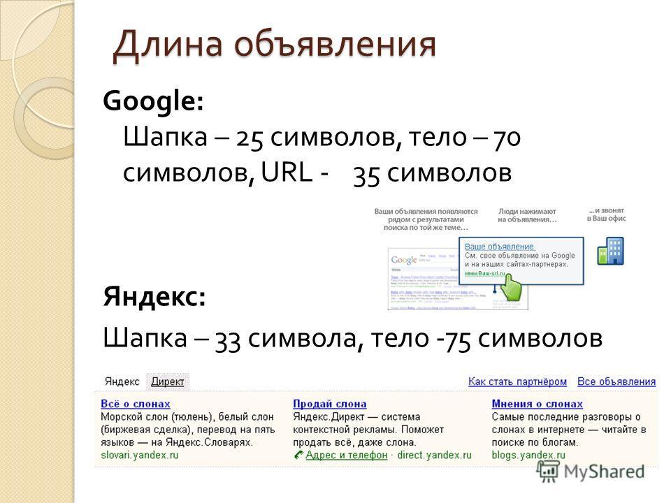 Длина объявления Google: Шапка – 25 символов, тело – 70 символов, URL - 35 символов Яндекс : Шапка – 33 символа, тело -75 символов
