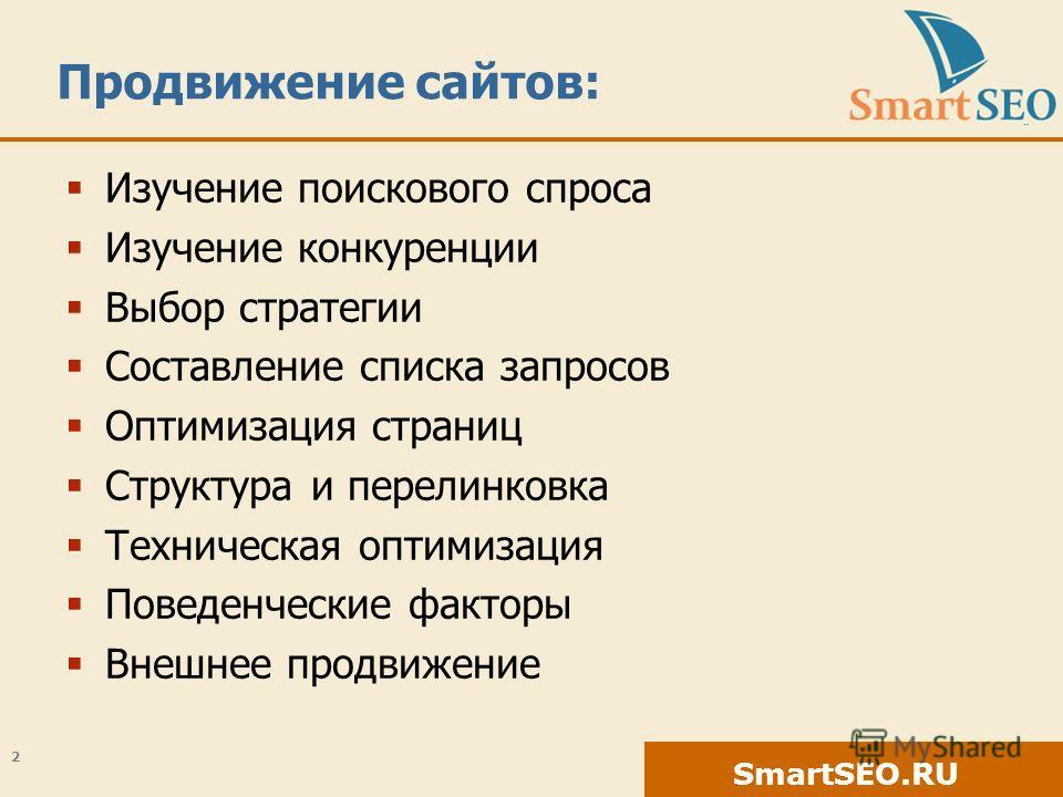 SmartSEO.RU Продвижение сайтов: Изучение поискового спроса Изучение конкуренции Выбор стратегии Составление списка запросов Оптимизация страниц Структура и перелинковка Техническая оптимизация Поведенческие факторы Внешнее продвижение 2