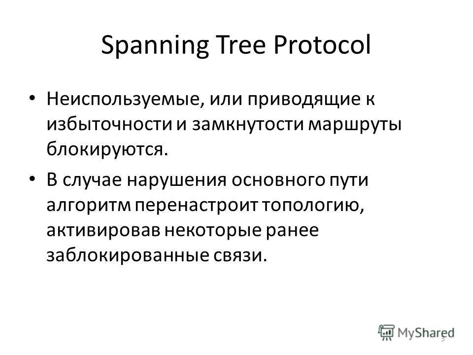Spanning Tree Protocol Неиспользуемые, или приводящие к избыточности и замкнутости маршруты блокируются. В случае нарушения основного пути алгоритм перенастроит топологию, активировав некоторые ранее заблокированные связи. 3