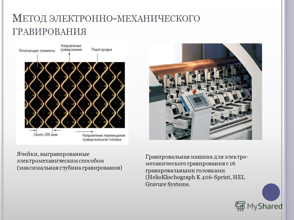 М ЕТОД ЭЛЕКТРОННО - МЕХАНИЧЕСКОГО ГРАВИРОВАНИЯ Ячейки, выгравированные электромеханическим способом (максимальная глубина гравирования) Гравировальная машина для электро- механического гравирования с 16 гравировальными головками (HelioKlischograph K