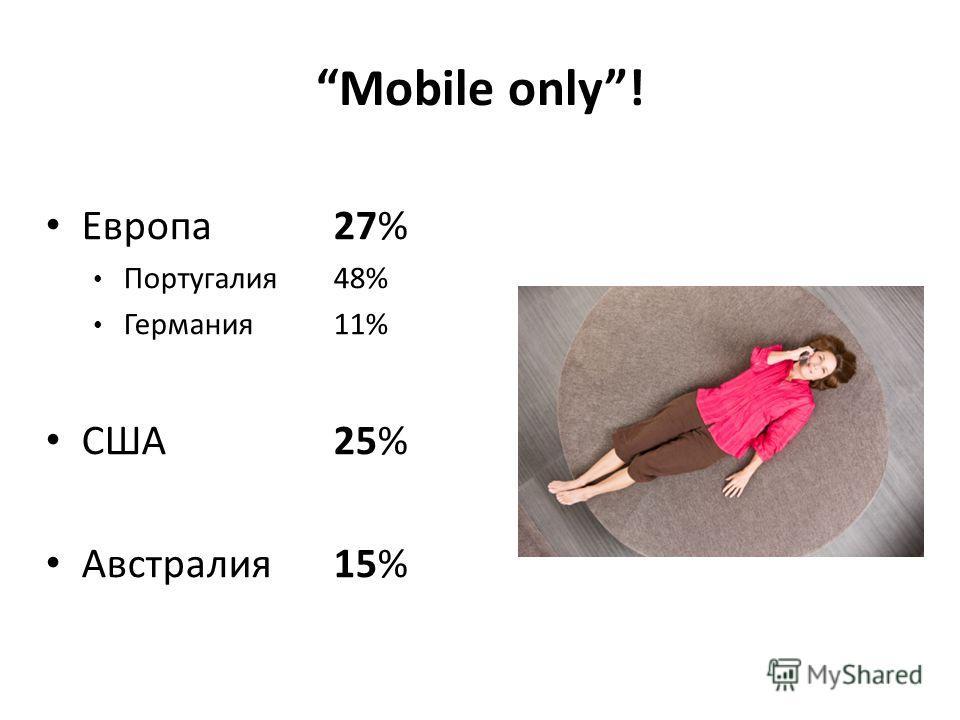 Европа27% Португалия 48% Германия11% США 25% Австралия 15% Mobile only!