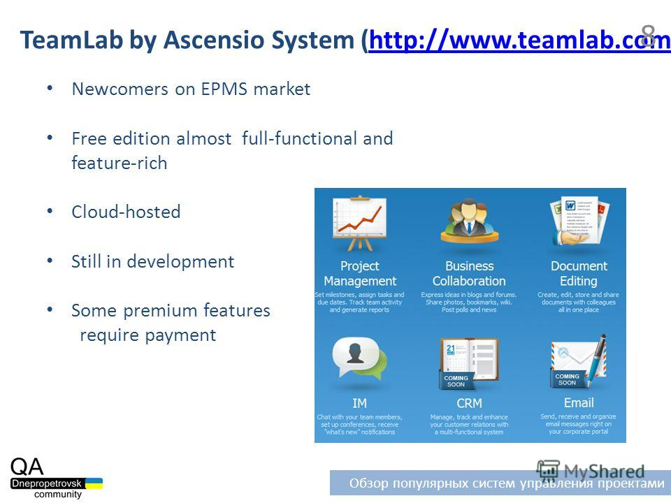 Newcomers on EPMS market Free edition almost full-functional and feature-rich Cloud-hosted Still in development Some premium features require payment TeamLab by Ascensio System (http://www.teamlab.com)http://www.teamlab.com 8 Обзор популярных систем