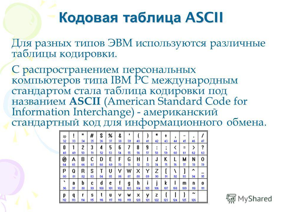 Кодовая таблица ASCII Для разных типов ЭВМ используются различные таблицы кодировки. С распространением персональных компьютеров типа IBM PC международным стандартом стала таблица кодировки под названием ASCII (American Standard Code for Information