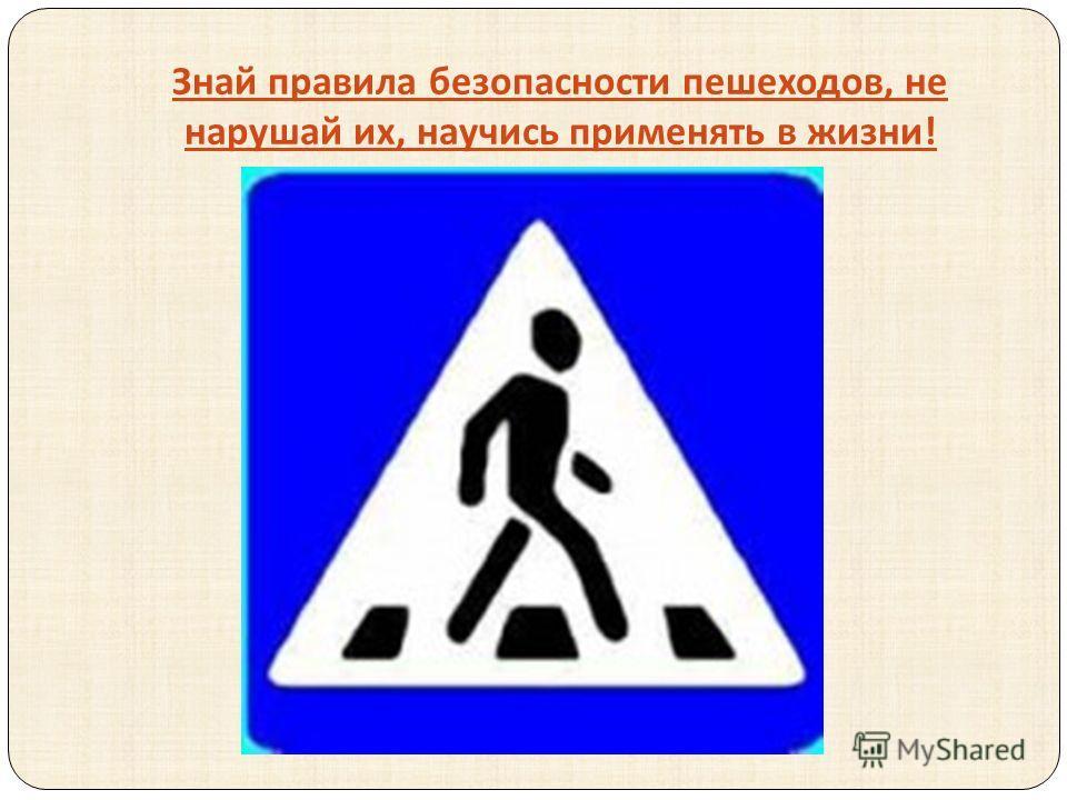 Знай правила безопасности пешеходов, не нарушай их, научись применять в жизни !