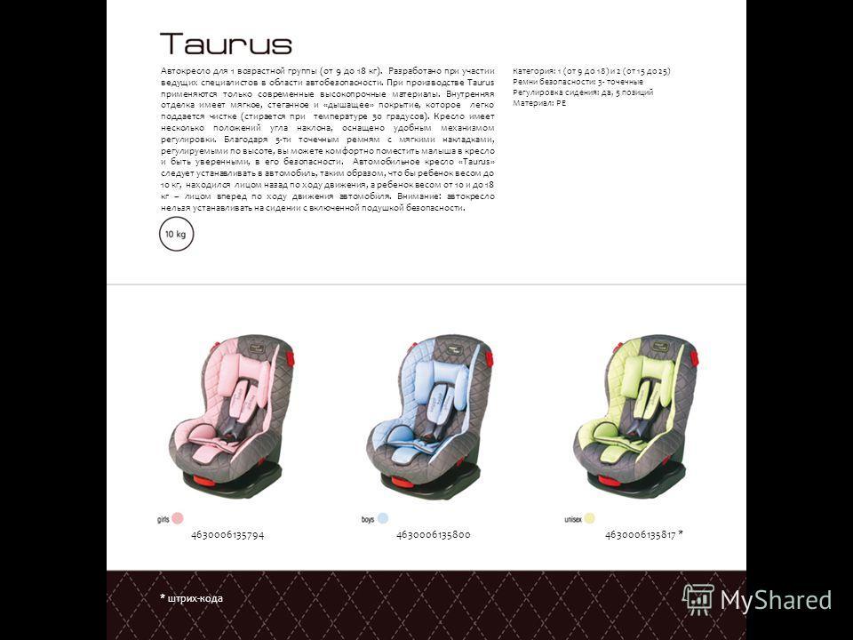 * штрих-кода Автокресло для 1 возрастной группы (от 9 до 18 кг). Разработано при участии ведущих специалистов в области автобезопасности. При производстве Taurus применяются только современные высокопрочные материалы. Внутренняя отделка имеет мягкое,