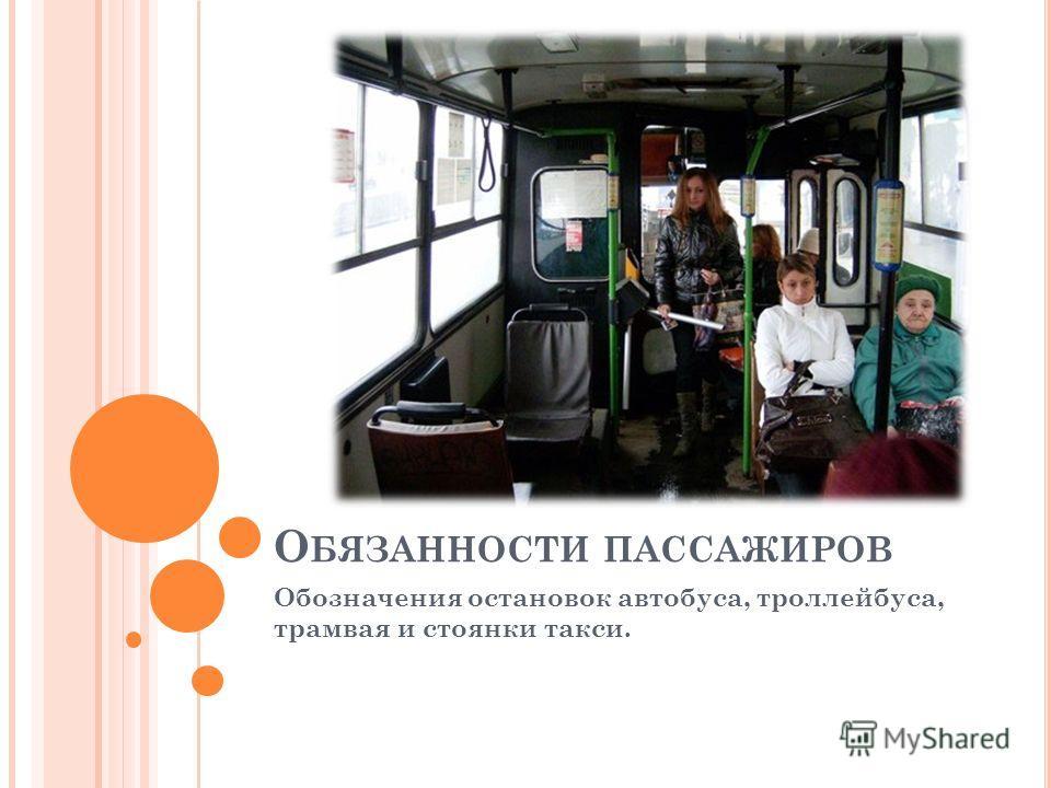 О БЯЗАННОСТИ ПАССАЖИРОВ Обозначения остановок автобуса, троллейбуса, трамвая и стоянки такси.
