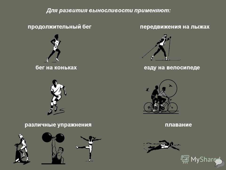 Для развития выносливости применяют: продолжительный бег передвижения на лыжах бег на коньках езду на велосипеде различные упражнения плавание