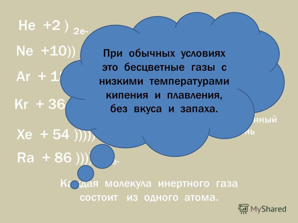 He +2 ) Ne +10)) Ar + 18 ))) Kr + 36 )))) Xe + 54 ))))) Ra + 86 )))))) 8e - 2e- 8e- VIII A группа Инертные (благородные) газы Каждая молекула инертного газа состоит из одного атома. Атомы имеют завершённый внешний уровень При обычных условиях это бес