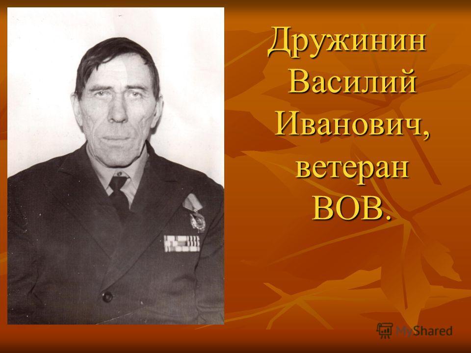 Дружинин Василий Иванович, ветеран ВОВ. Дружинин Василий Иванович, ветеран ВОВ.