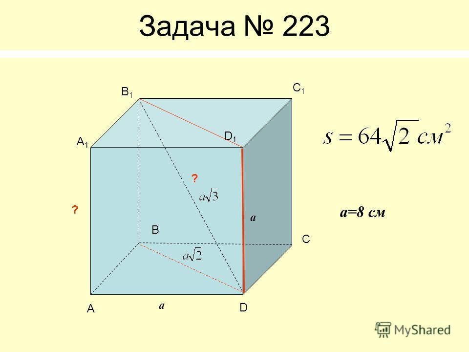 Задача 223 А B C D А1А1 B1B1 C1C1 D1D1 ? ? а а а=8 см