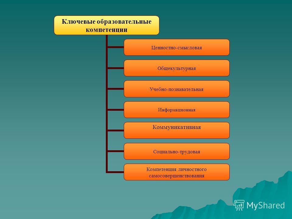 Ключевые образовательные компетенции Ценностно-смысловая Общекультурная Учебно-познавательная Информационная Коммуникативная Социально-трудовая Компетенция личностного самосовершенствования
