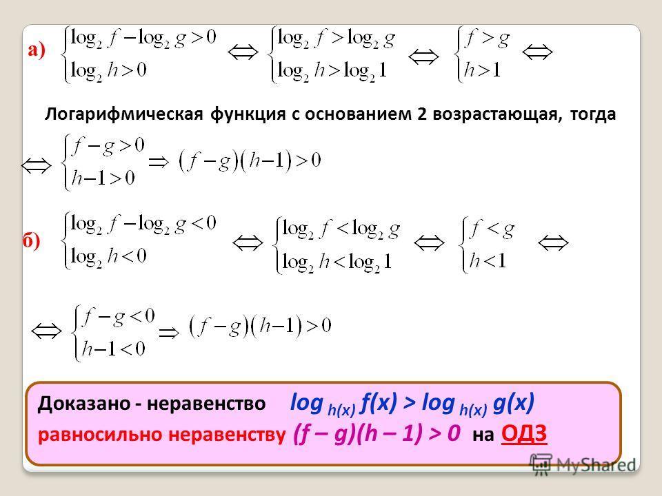 а) Логарифмическая функция с основанием 2 возрастающая, тогда б) Доказано - неравенство log h(x) f(x) > log h(x) g(x) равносильно неравенству (f – g)(h – 1) > 0 на ОДЗ