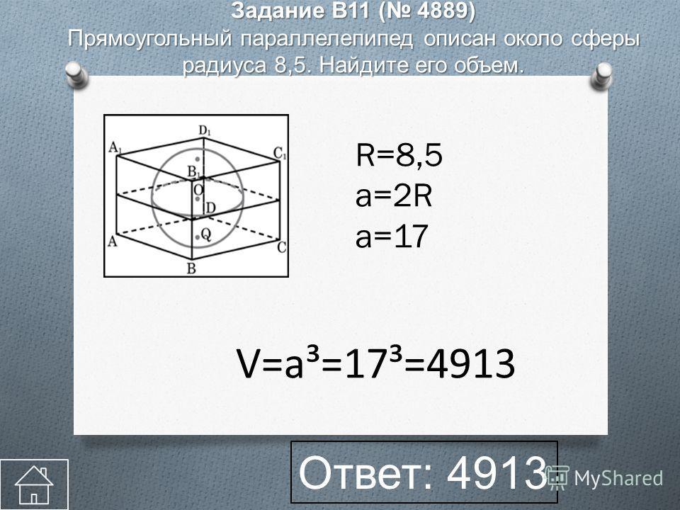 Задание B11 ( 4889) Прямоугольный параллелепипед описан около сферы радиуса 8,5. Найдите его объем. R=8,5 a=2R a=17 Ответ: 4913 V=a³=17³=4913