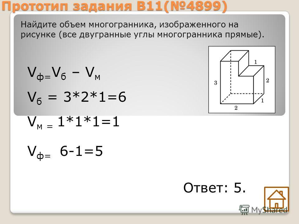 Прототип задания B11(4899) V ф= V б – V м V б = 3*2*1=6 V м = 1*1*1=1 V ф= 6-1=5 Найдите объем многогранника, изображенного на рисунке (все двугранные углы многогранника прямые). Ответ: 5.