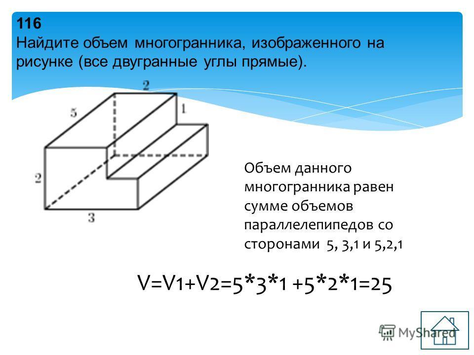 116 Найдите объем многогранника, изображенного на рисунке (все двугранные углы прямые). Объем данного многогранника равен сумме объемов параллелепипедов со сторонами 5, 3,1 и 5,2,1 V=V1+V2=5*3*1 +5*2*1=25