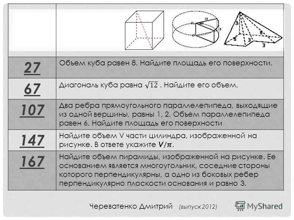 27 Объем куба равен 8. Найдите площадь его поверхности. 67 107 Два ребра прямоугольного параллелепипеда, выходящие из одной вершины, равны 1, 2. Объем параллелепипеда равен 6. Найдите площадь его поверхности 147 167 Найдите объем пирамиды, изображенн