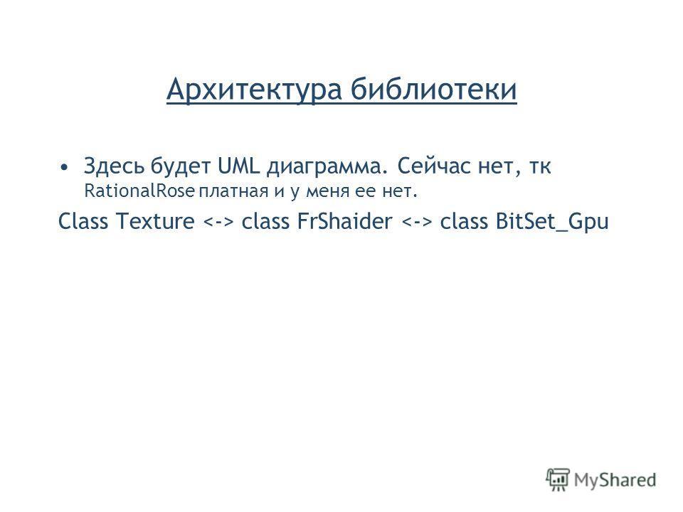 Архитектура библиотеки Здесь будет UML диаграмма. Сейчас нет, тк RationalRose платная и у меня ее нет. Class Texture class FrShaider class BitSet_Gpu
