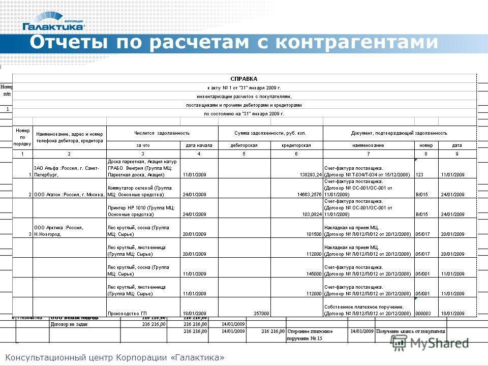 Отчеты по расчетам с контрагентами Консультационный центр Корпорации «Галактика»