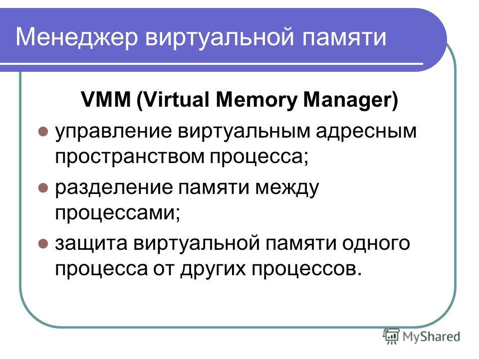Менеджер виртуальной памяти VMM (Virtual Memory Manager) управление виртуальным адресным пространством процесса; разделение памяти между процессами; защита виртуальной памяти одного процесса от других процессов.