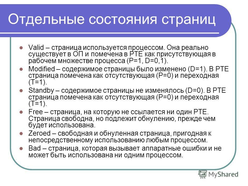 Отдельные состояния страниц Valid – страница используется процессом. Она реально существует в ОП и помечена в PTE как присутствующая в рабочем множестве процесса (P=1, D=0,1). Modified – содержимое страницы было изменено (D=1). В PTE страница помечен