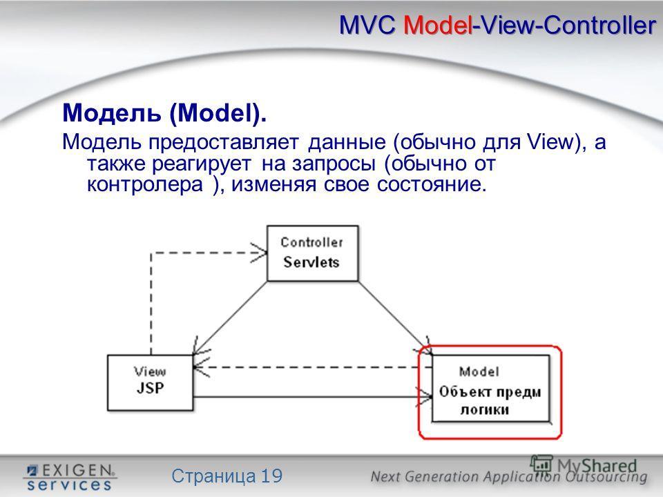 Страница 19 MVC Model-View-Controller Модель (Model). Модель предоставляет данные (обычно для View), а также реагирует на запросы (обычно от контролера ), изменяя свое состояние.
