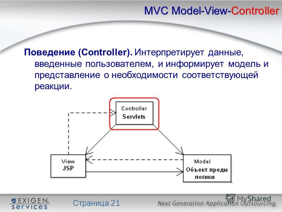 Страница 21 MVC Model-View-Controller Поведение (Controller). Интерпретирует данные, введенные пользователем, и информирует модель и представление о необходимости соответствующей реакции.