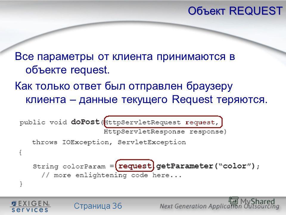 Страница 36 Объект REQUEST Все параметры от клиента принимаются в объекте request. Как только ответ был отправлен браузеру клиента – данные текущего Request теряются.