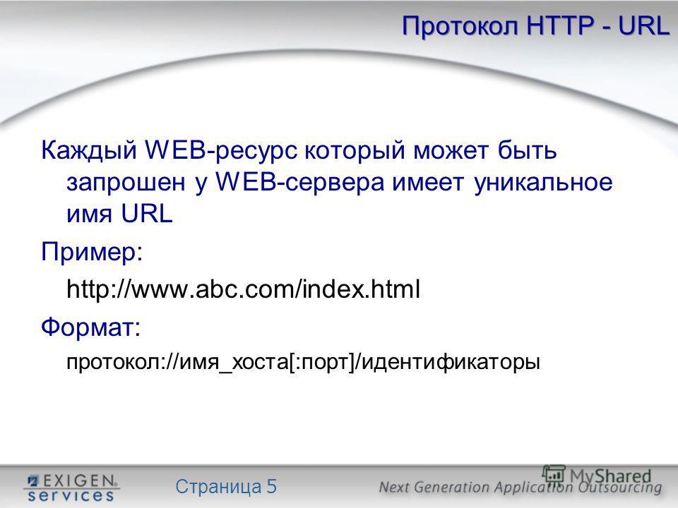 Страница 5 Протокол HTTP - URL Каждый WEB-ресурс который может быть запрошен у WEB-сервера имеет уникальное имя URL Пример: http://www.abc.com/index.html Формат: протокол://имя_хоста[:порт]/идентификаторы