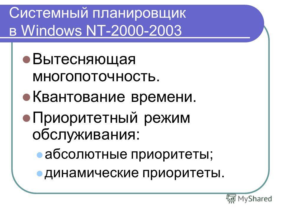 Системный планировщик в Windows NT-2000-2003 Вытесняющая многопоточность. Квантование времени. Приоритетный режим обслуживания: абсолютные приоритеты; динамические приоритеты.