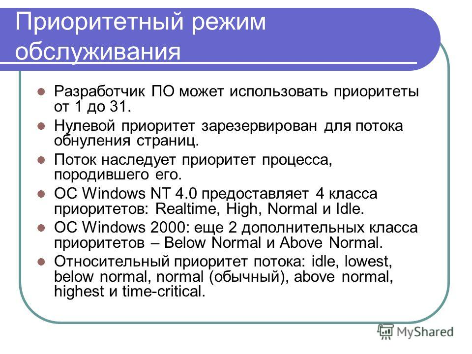 Приоритетный режим обслуживания Разработчик ПО может использовать приоритеты от 1 до 31. Нулевой приоритет зарезервирован для потока обнуления страниц. Поток наследует приоритет процесса, породившего его. ОС Windows NT 4.0 предоставляет 4 класса прио