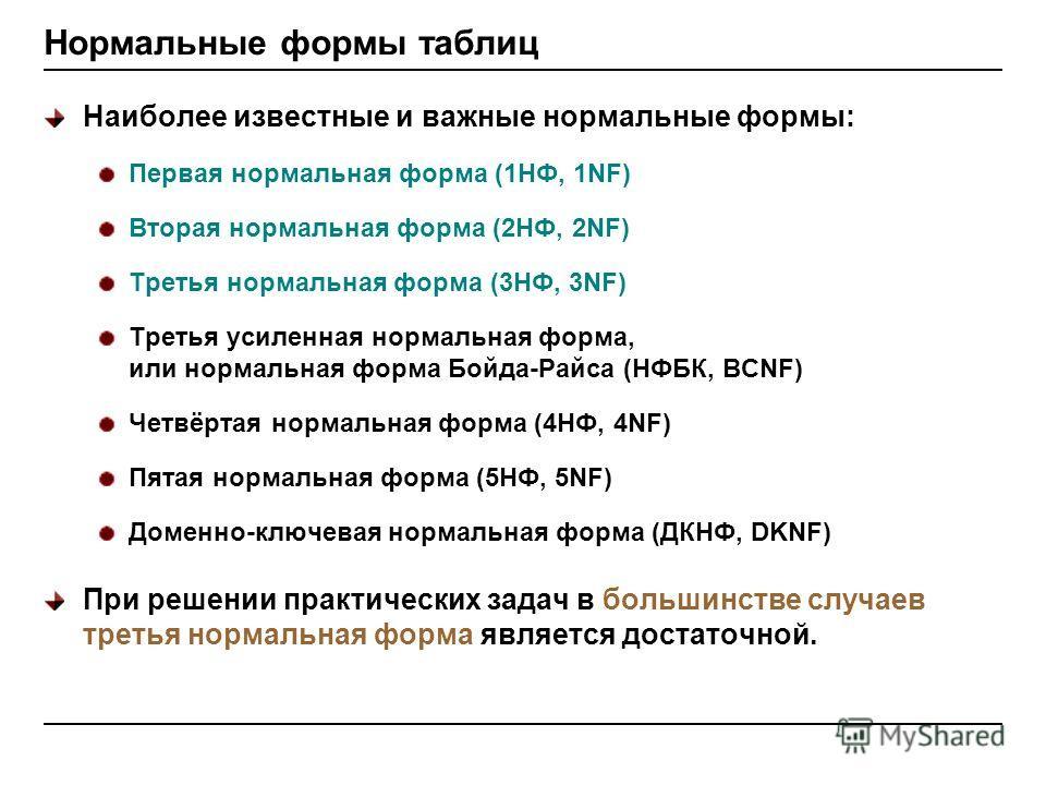 Нормальные формы таблиц Наиболее известные и важные нормальные формы: Первая нормальная форма (1НФ, 1NF) Вторая нормальная форма (2НФ, 2NF) Третья нормальная форма (3НФ, 3NF) Третья усиленная нормальная форма, или нормальная форма Бойда-Райса (НФБК,
