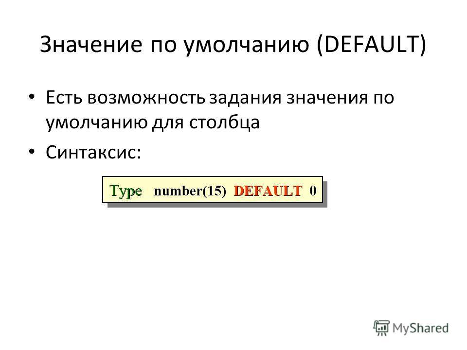 Значение по умолчанию (DЕFAULT) Есть возможность задания значения по умолчанию для столбца Синтаксис: