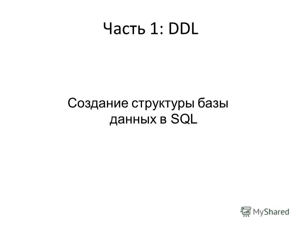 Часть 1: DDL Создание структуры базы данных в SQL