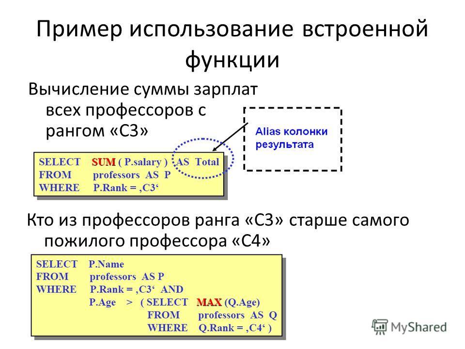 Пример использование встроенной функции Вычисление суммы зарплат всех профессоров с рангом «С3» Кто из профессоров ранга «С3» старше самого пожилого профессора «С4»