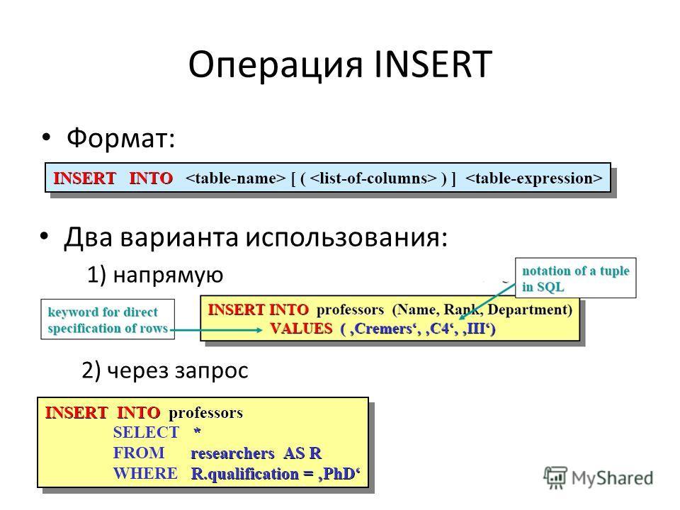 Операция INSERT Формат: Два варианта использования: 1) напрямую 2) через запрос