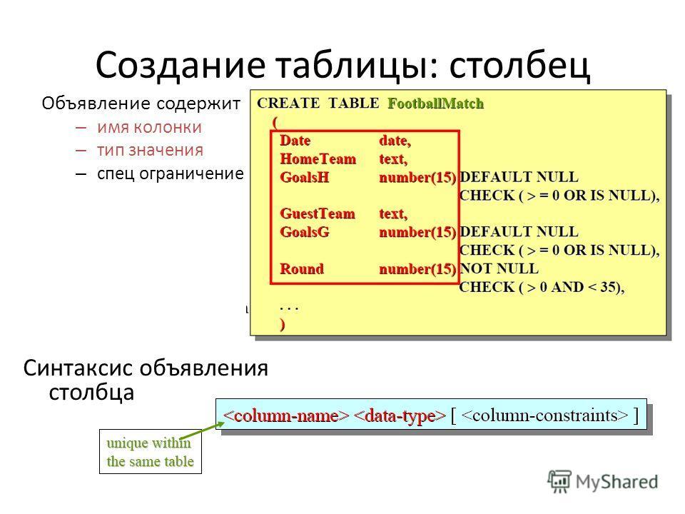 Создание таблицы: столбец Объявление содержит – имя колонки – тип значения – спец ограничение Синтаксис объявления столбца