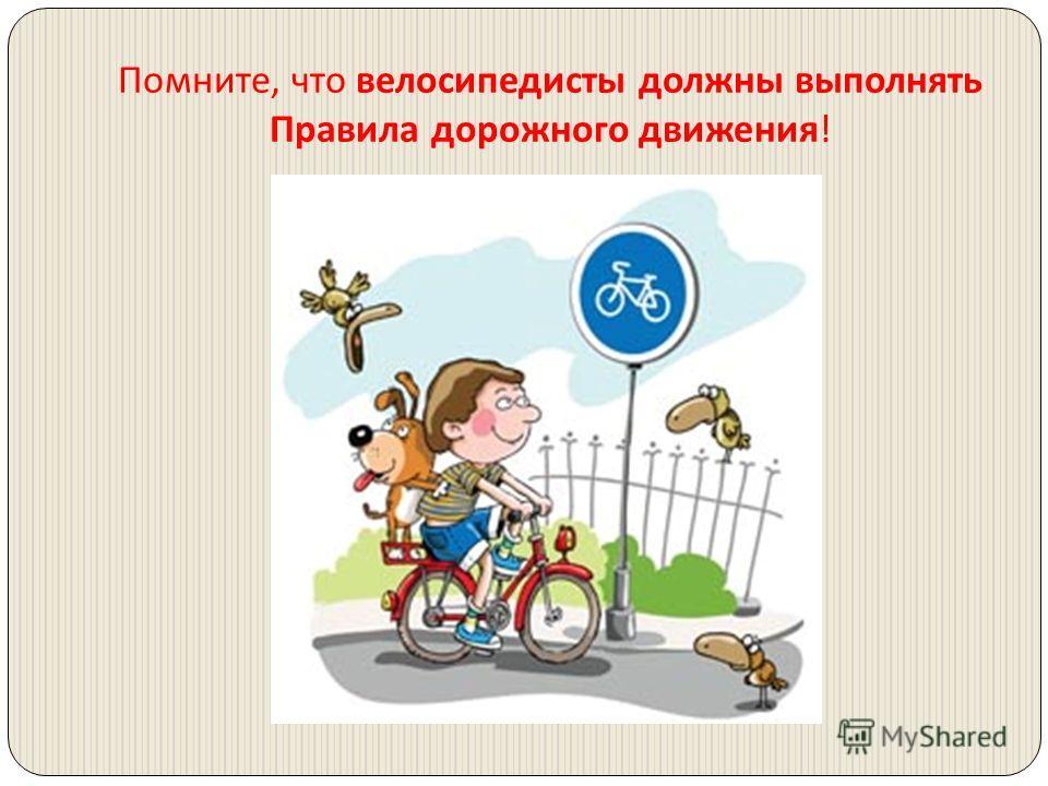 Помните, что велосипедисты должны выполнять Правила дорожного движения !