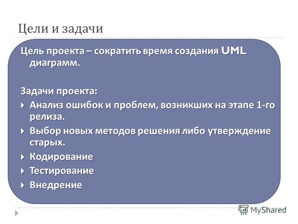 Цели и задачи Цель проекта – сократить время создания UML диаграмм. Задачи проекта : Анализ ошибок и проблем, возникших на этапе 1- го релиза. Анализ ошибок и проблем, возникших на этапе 1- го релиза. Выбор новых методов решения либо утверждение стар