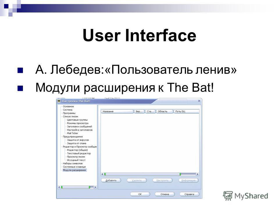 User Interface А. Лебедев:«Пользователь ленив» Модули расширения к The Bat!