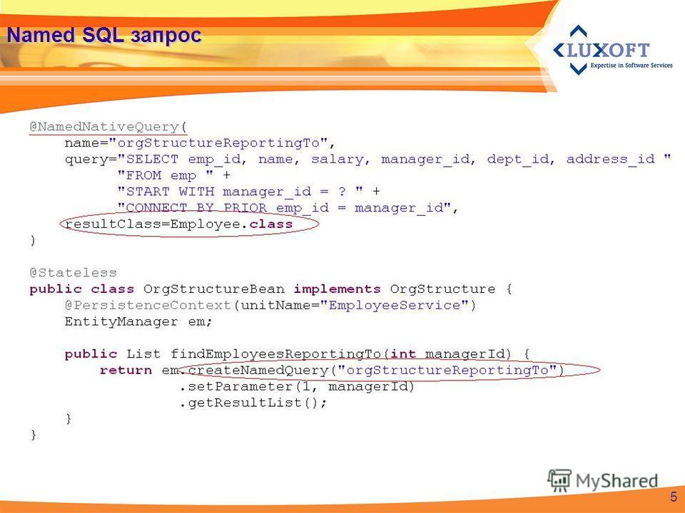 Named SQL запрос 5