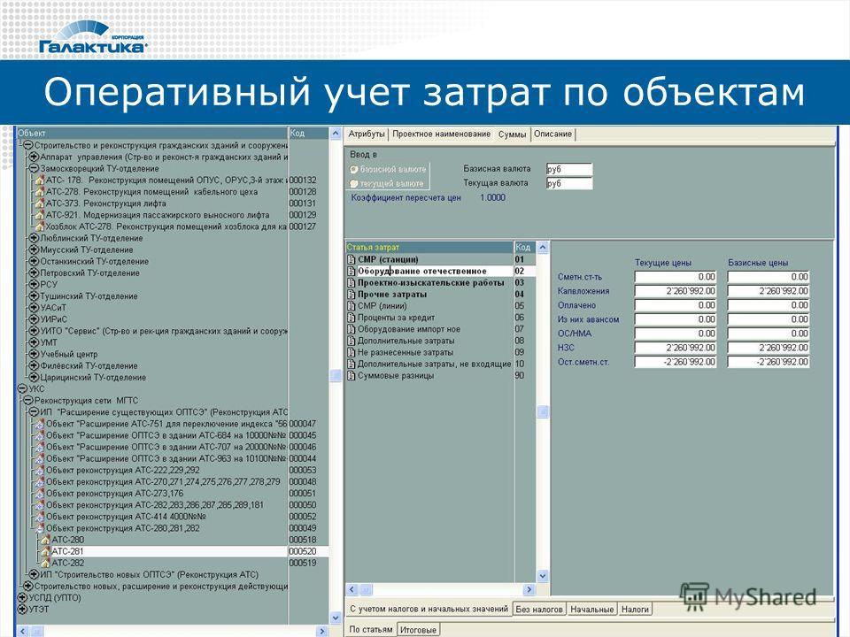 Оперативный учет затрат по объектам