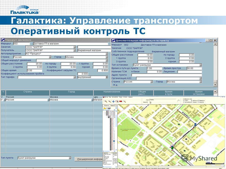 Галактика: Управление транспортом Оперативный контроль ТС