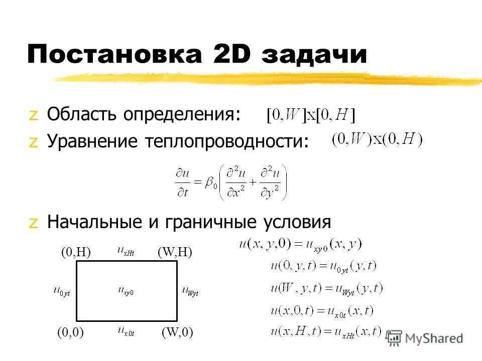 Постановка 2D задачи zОбласть определения: zУравнение теплопроводности: zНачальные и граничные условия (W,0) (0,H) (0,0) (W,H)