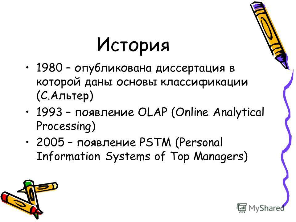 История 1980 – опубликована диссертация в которой даны основы классификации (С.Альтер) 1993 – появление OLAP (Online Analytical Processing) 2005 – появление PSTM (Personal Information Systems of Top Managers)