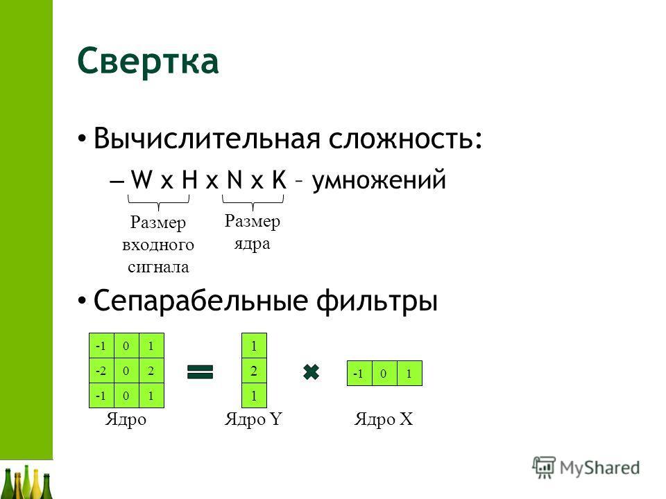 Свертка Вычислительная сложность: – W x H x N x K – умножений Сепарабельные фильтры Размер входного сигнала Размер ядра 01 -202 01 Ядро 01 Ядро X 1 2 1 Ядро Y