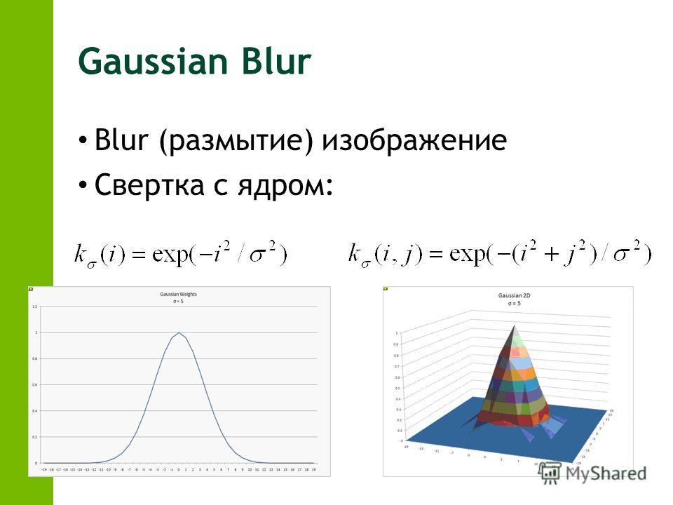 Gaussian Blur Blur (размытие) изображение Свертка с ядром: