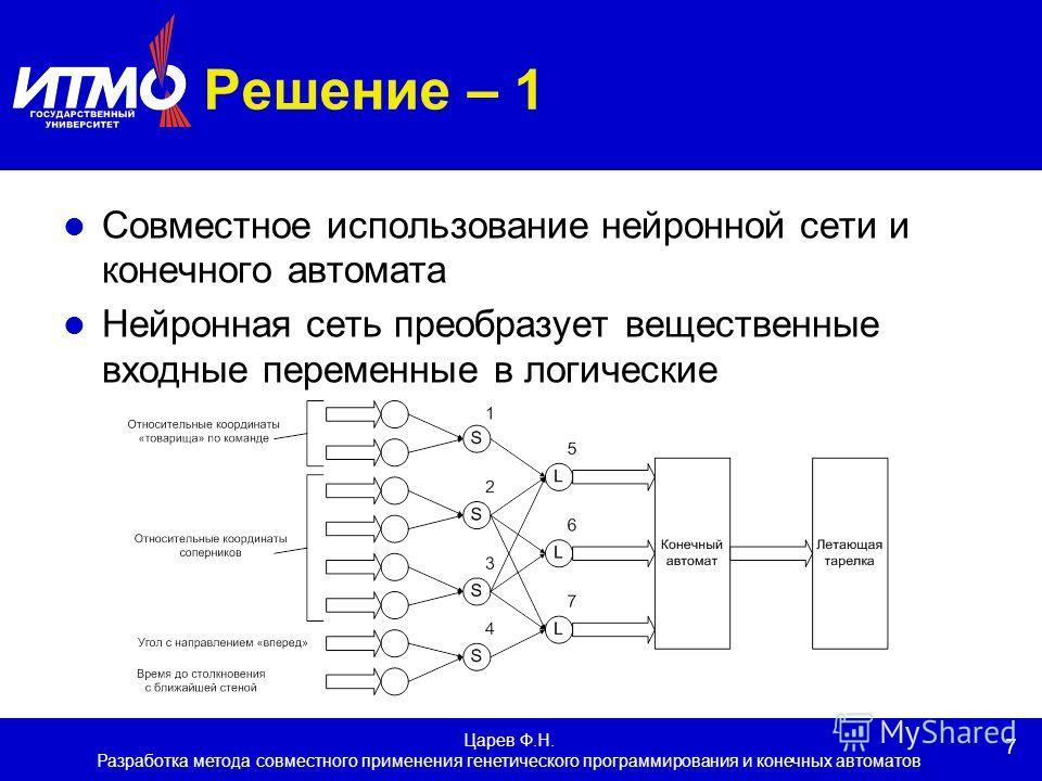 7 Царев Ф.Н. Разработка метода совместного применения генетического программирования и конечных автоматов Решение – 1 Совместное использование нейронной сети и конечного автомата Нейронная сеть преобразует вещественные входные переменные в логические